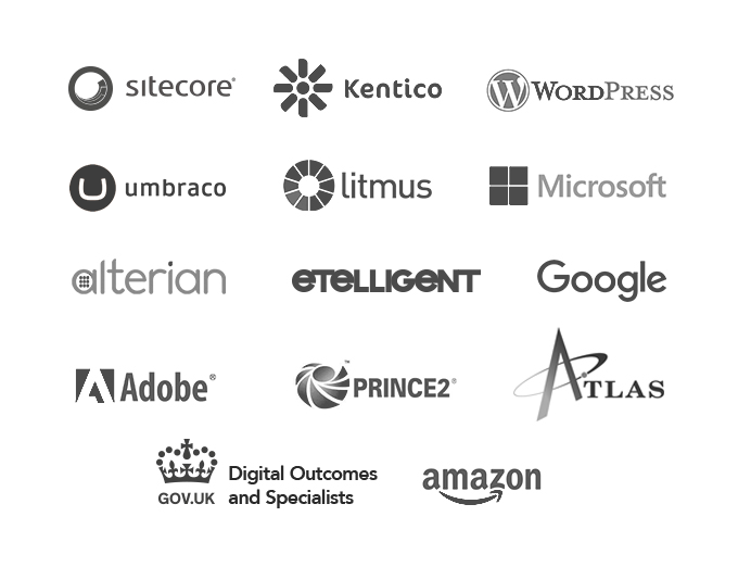 Sitecore - Kentico - Wordpress - TYPO3 - etelligent - Microsoft - alterian - litmus - Google - Adobe - Gov.uk - Prince2 - Atlas - amazon
